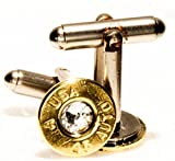 .45 Automatic Brass Finish Cuff Link and Tie Tack Set w/Swarovski Crystals (A-USA)
