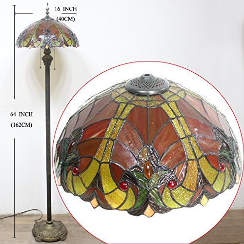 Tiffany Style Floor Standing Lamp 64 Inch Tall Red Liaison Stained Glass Shade 2 Light Antique Base for Bedroom Living Room Reading Lighting Coffee Table Set S160R WERFACTORY by WERFACTORY (Image #5)