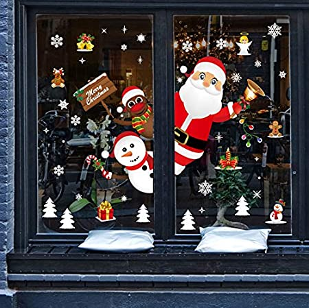 Umipubo Christmas Window Clings Window Wall Stickers Cute Santa Claus Reindeer Static Pvc Stickers For Christmas Home Shop Party Window Decorations 2