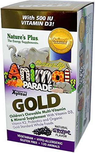 NaturesPlus Animal Parade Source of Life Gold Children's Multivitamin - Grape Flavor - 120 Chewable Animal Shaped Tablets - Organic, Vegetarian, Gluten-Free - 60 Servings