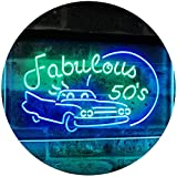 AdvpPro 2C The Fabulous 50s Sport Car Man Cave Bar Display Dual Color LED Neon Sign Green & Blue 12'' x 8.5'' st6s32-i3075-gb