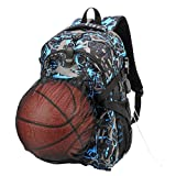 xhorizon SR Basketball Backpack, Football Backpack, Computer Backpack, Waterproof Casual Travel Bag School Sports Bag with Basketball Net and USB Charging Port (Fits 15.6 inch Laptop Notebook)