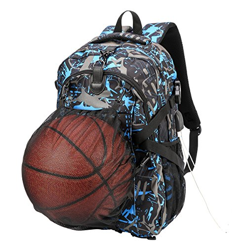 xhorizon SR Basketball Backpack, Football Backpack, Computer Backpack, Waterproof Casual Travel Bag School Sports Bag with Basketball Net and USB Charging Port (Fits 15.6 inch Laptop Notebook) by xhorizon