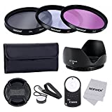 Neewer 58MM Professional Lens Filter Accessory Kit and IR Wireless RC-6 Remote Control for CANON EOS Rebel T5i T4i T3i T3 T2i T1i XT XTi XSi SL1 DSLR Cameras- Includes Filter Kit (UV, CPL, FLD) + Filter Carrying Pouch + Tulip Flower Lens Hood + Center Pin