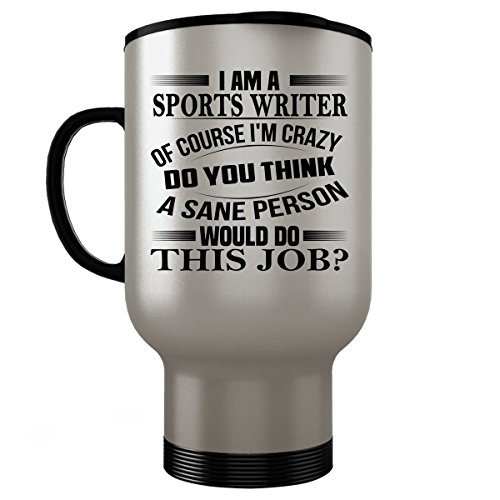 SPORTS WRITER Travel Mug - SPORTS WRITER Gifts - Unique Travel Mug, Coffee Cup (Sports Book Manager Costume)