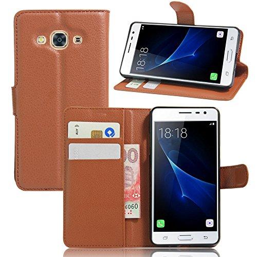Funda Samsung Galaxy J3 PRO,Manyip Caja del teléfono del cuero,Protector de Pantalla de Slim Case Estilo Billetera con Ranuras para Tarjetas, Soporte Plegable, Cierre Magnético(JFC8-17) E