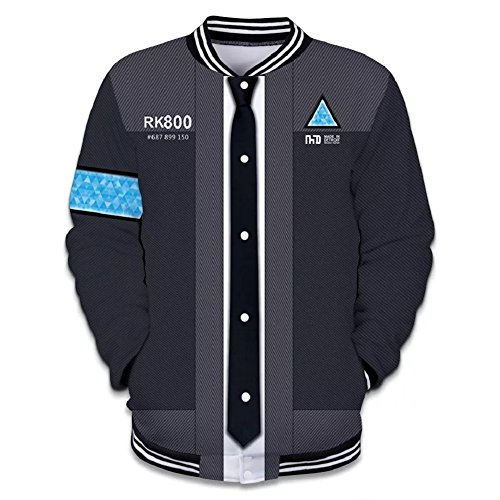Price comparison product image Become Human Hoodie 3D Print Baseball Jacket Cool Game Cosplay Costume Type A L