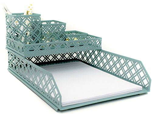 Blu Monaco Office Supplies Teal Blue Desk Organizers and Accessories-5 Piece Interlocking Cute Desk Organizer Set-Letter Tray-Pen Cup-3 Assorted Accessory Trays-Room Decor for Women and Teen Girls