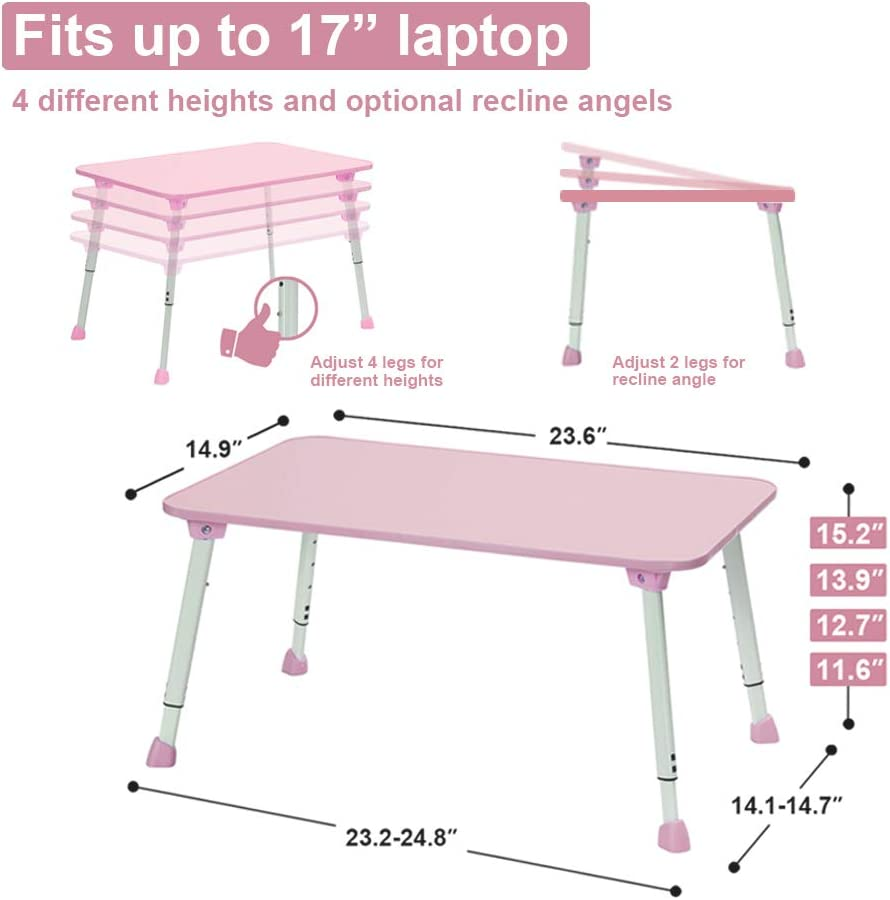 Height Adjustable Bed Desk for Laptop Flamingo Pink 23.6L x 15W CHEFAN Portable Table