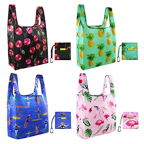 Foldable Reusable Grocery Bags Cute Designs, Folding Shopping Tote Bag Fits in Pocket (4 Pack Fashion Patterns) (summer (Tote Bag Design)