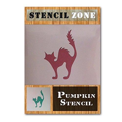 Cat Halloween Mylar Painting Pumpkin Wall Art Stencil Two (A3 Size Stencil - Medium)