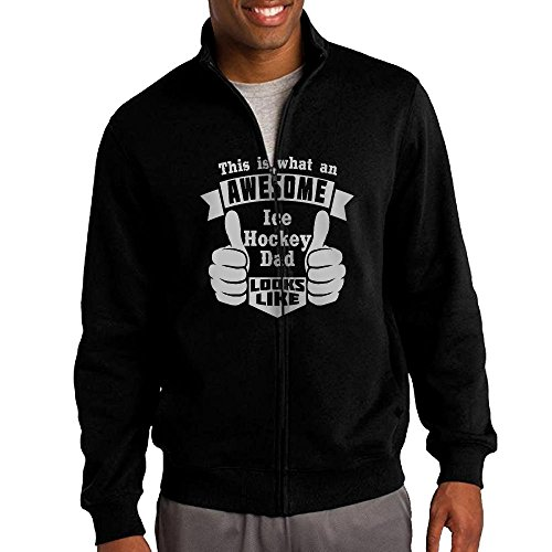 Playing Hockey Awesome Hoodie For Men Zip Cartoon Long Sleeve Simple Sweatshirt X-Large (A&r Hockey Neck Guard)