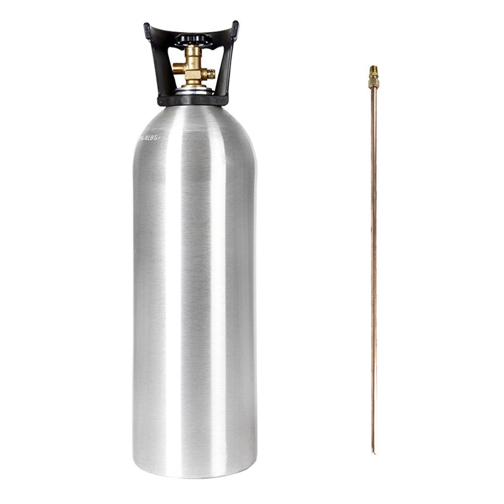 20 LB CO2 ALUMINUM CYLINDER TANK NEW WITH DIP TUBE - SHERWOOD CGA 320 VALVE, CARRY HANDLE (HOMEBREW BEER KEG HYDROPONICS) by Catalina
