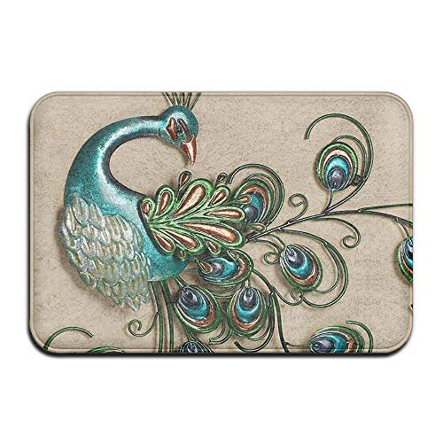 Peacock Decor,Non Slip Machine-Washable Door Mats Home Decor Rug Entrance Mats Thicken Playmat Multi-Purpose Floorcover 31.5(L) X 19.7(W) Inch