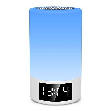 aae7ff36cff Altavoz Bluetooth con luz nocturna M6 - Reloj despertador con control  táctil Luz de noche LED