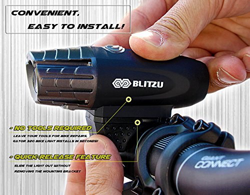 BLITZU Gator 320 USB Rechargeable Bike Light Set Powerful Lumens Bicycle Headlight Free Tail Light, LED Front and Back Rear Lights Easy to Install for Kids Men Women Road Cycling Safety Flashlight by BLITZU (Image #2)