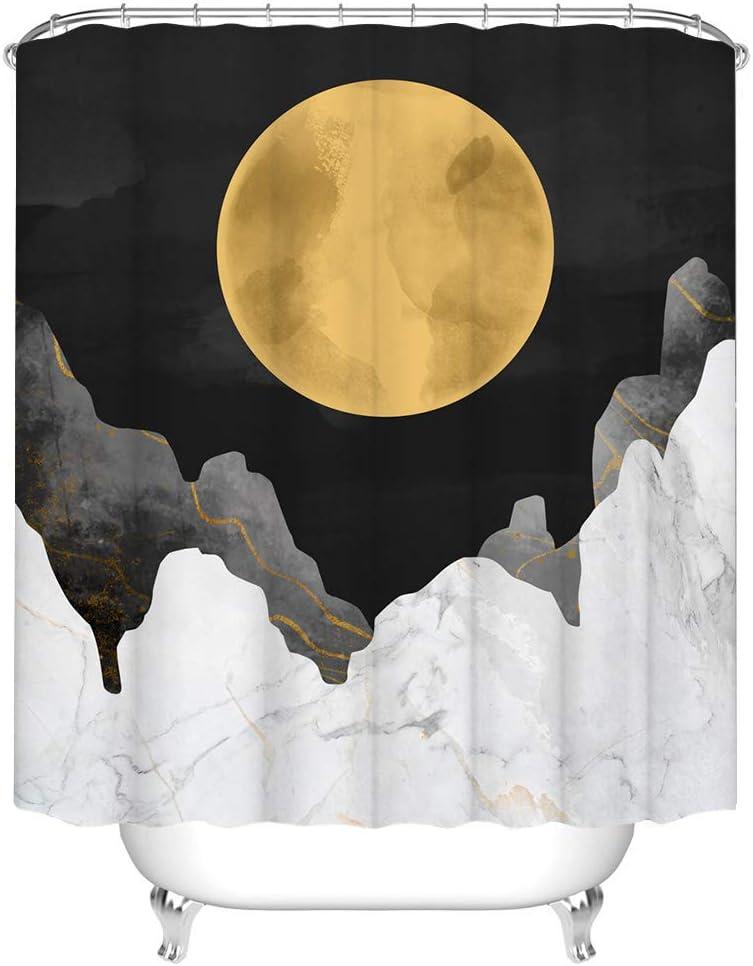 Moon Shower Curtain Fabric Abstract Mountain Bath Curtain Unisex Nature Bathroom Decor with Hooks 72