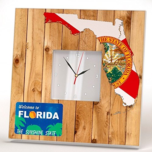States Poster Stamps - Florida State Wall Clock Framed Mirror Decor Art Print Poster Home Room Gift US Map Flag Wood Design