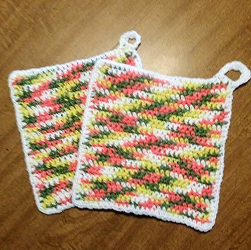 Hand Crocheted Large Square Potholders, Double Thick Cotton, extra dense, set of two, Fruit Basket and White (avocado green, lemon yellow, sage green, salmon, watermelon)