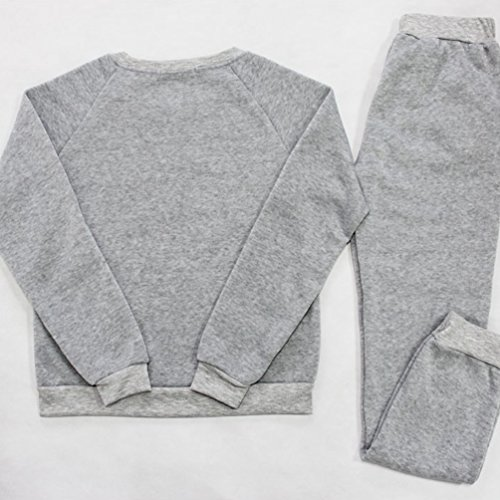 Baymate Mujer Escote Redondo Chándal 2pcs Conjuntos Casual Sudadera Sweatshirt Pantalones Gris