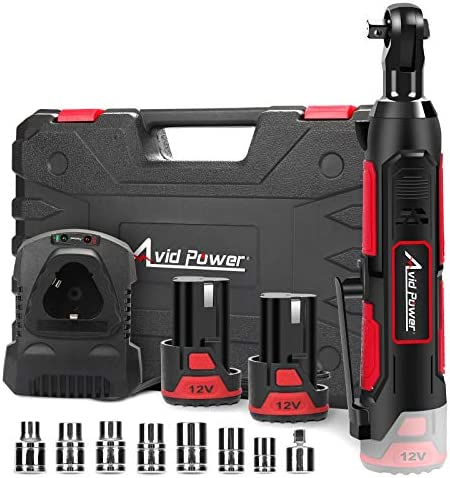 """Cordless Electric Ratchet Wrench, 3/8"""" 50N.m (37 Ft-lbs) 12V Power Ratchet Wrench Kit w/ 2-Pack 2.0Ah Lithium-Ion Batteries, One Hour Fast Charger, Variable Speed and eight Sockets by way of Avid Power"""