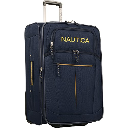 Nautica Carry-On Expandable Spinner Luggage, Navy/Yellow