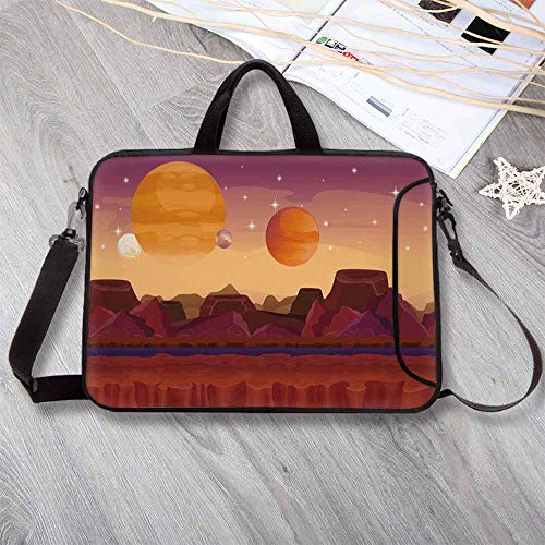 """Fantasy Wear-Resisting Neoprene Laptop Bag,Science Fiction Outer Space with Planetary Surface Cosmos Graphic Laptop Bag for Laptop Tablet PC,17.3""""L x 13""""W x 0.8""""H ()"""
