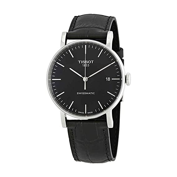 """Reloj Tissot Everytime con mecanismo """"""""Swissmatic"""" para hombre con correa negra"""