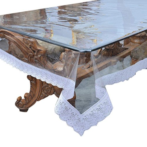 Table Cover Oval - Jenylinen Beautiful Crystal Clear Table Cover with White Lace Border in 60