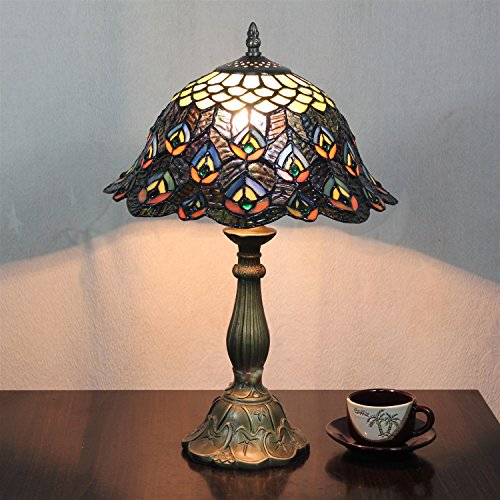 Gweat 12-Inch Vintage Pastoral Peacock Stained Glass Table Lamp Bedroom Lamp Bedside Lamp