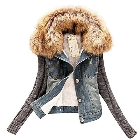 Women Winter Knit Sleeve Faux Fur Fleece Collar Denim Short Jacket Coat Outwear (US XS/ Asian Tag - Denim Coat Jacket
