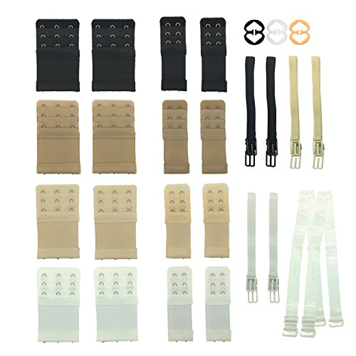 - Wartoon 27-in-1 Bra Extenders Adjustable,4 Color 16 Piece Bra Strap Extenders and 1 Pair Invisible Clear Replacement Bra Straps 6 Pieces Non-slip Bra Strap Holder with 3 Pieces Bra Clips