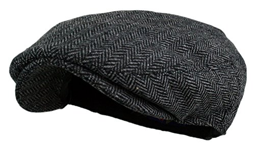 [Men's Herringbone Tweed Wool Blend Snap Front Newsboy Hat (DK.Grey, LXL)] (Mens Tweed Caps)
