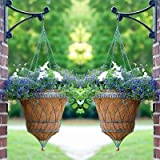 Set of 2 Victorian Parasol Hanging Baskets w/ Chains, Verdigris