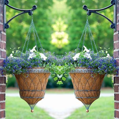 - Set of 2 Victorian Parasol Hanging Baskets w/ Chains, Verdigris