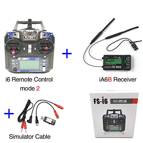 Flysky FS-i6 6CH 2.4GHz AFHDS RC Transmitter w/FS-iA6B Receiver+Simulator Cable for RC Multirotor Quadcopter Helicopter Airplane Glider Car (Model_2)
