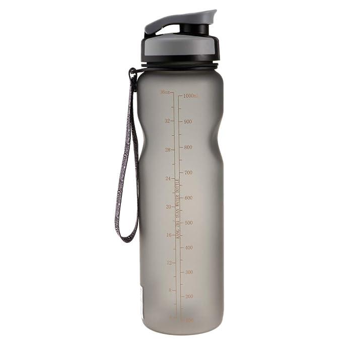 IPOTCH 1000 ML 34 oz Botella de Agua Portátil Irrompible Helado Congelado a Prueba de Fugas para Ciclismo Viajes Yoga Correr Camping Fitness - Gris: ...