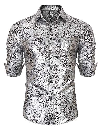 URRU Men's Luxury Gold Shiny Flowered Printed Stylish Button Down Shirt Silver L
