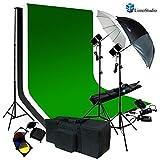 LimoStudio Photography 700 Watt Photo Studio Monolight Flash Lighting Kit - 2 Studio Flash/Strobe, 10' x 10' Black & White & Green Muslin Backdrops and Carry Case, AGG713V2