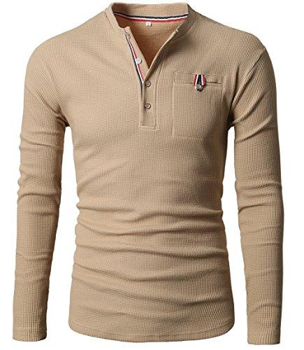 GARSEBO Mens Casual Slim Fit Henley Shirts With Bound Pocket of Waffle Cotton,Khaki,X-Large