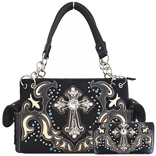 Western Style Rhinestone Cross Stud Concealed Carry Purse Laser Cut Handbag Women Shoulder Bag Wallet Set (Black/Gray Set)