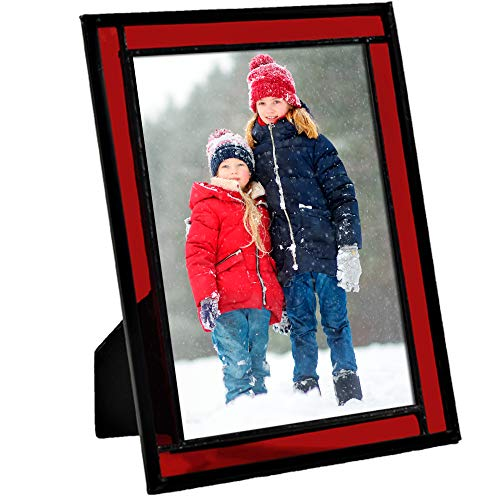 J Devlin Colored Easel Back Series - Stained Glass 5x7 Picture Frame Displays Horizontally or Vertically (Red) (For Photos Frames Red)