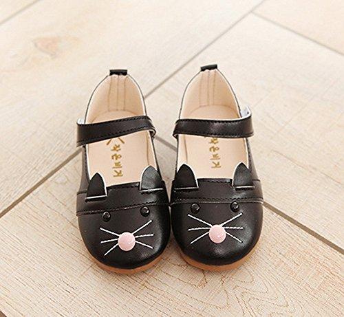 Vokamara Kleinkind Mädchen Hübsch Kat Schuhe Mary Jane Flache Schuhe Schwarz