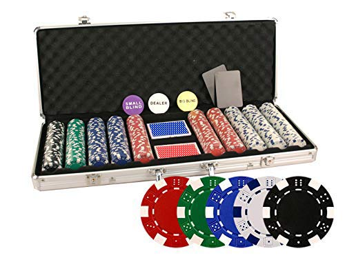 (Da Vinci 500 Piece Executive 11.5 Gram Poker Chip Set w/Case & Cards (Dice Striped))
