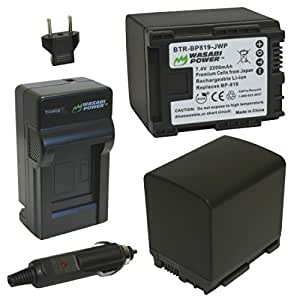 Wasabi Power Battery and Charger Kit for Canon BP-819, VIXIA HF10, HF11, HF20, HF21, HF100, HF200, HF G10, HF M30, HF M31, HF M32, HF M40, HF M41, HF M300, HF M400, HF S10, HF S11, HF S20, HF S21, HF S30, HF S100, HF S200, HG20, HG21, HG30, XA10
