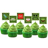 Pixel Cupcake Toppers Happy Birthday Party Printable Cake Decoration Block Games Inspired Supplies 48pcs