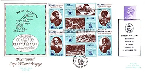 Stamp Block First Day Cover - Palau Captain Wilson's Voyage Block of Eight First Day Cover