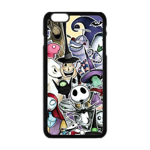 Generic Custom Disney Film The Nightmare Before Christmas Jack Sally Halloween Printed Black Case For Iphone 6 Plus 5.5 Inch 100% Plastic