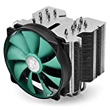 DEEPCOOL CPU Cooler Lucifer V2, 140mm Rubber Covered Silent PWM Fan, 6 Heatpipes, Fanless Option, Polished Pure Copper Base, AM4 Compatible, 3-Year Warranty