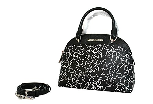 MICHAEL Michael Kors EMMY Women's Shoulder Handbag SMALL DOME SATCHEL - White Kors And Michael Black
